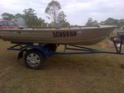 Savage 3.4 m Aluminium Tinnie on trailer