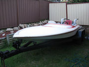 Sanger 1970s Ski Boat / Race Boat + Trailer + Spare Parts